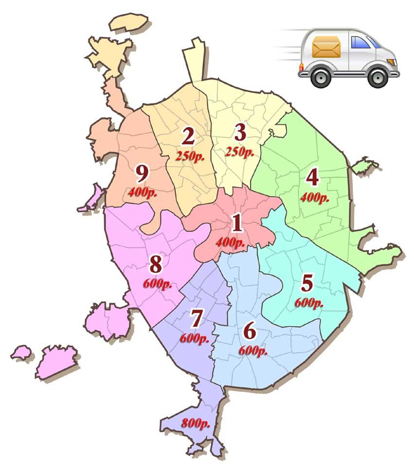 Карта доставки по Москве